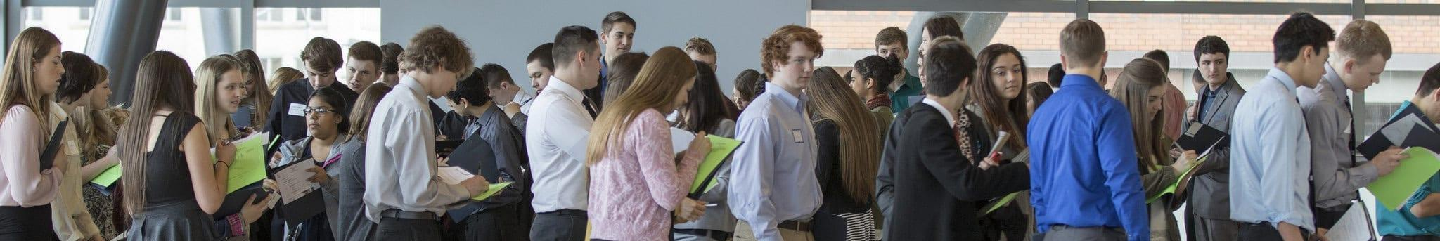 Career Connections 2016 - students wait in line