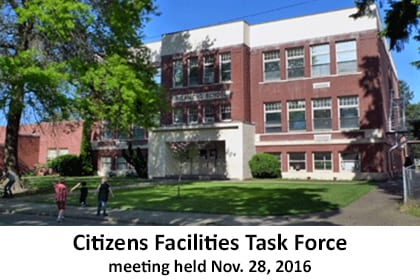 Photo of a school building. Words underneath say: Citizens Facilities Task Force meeting held Nov. 28, 2016