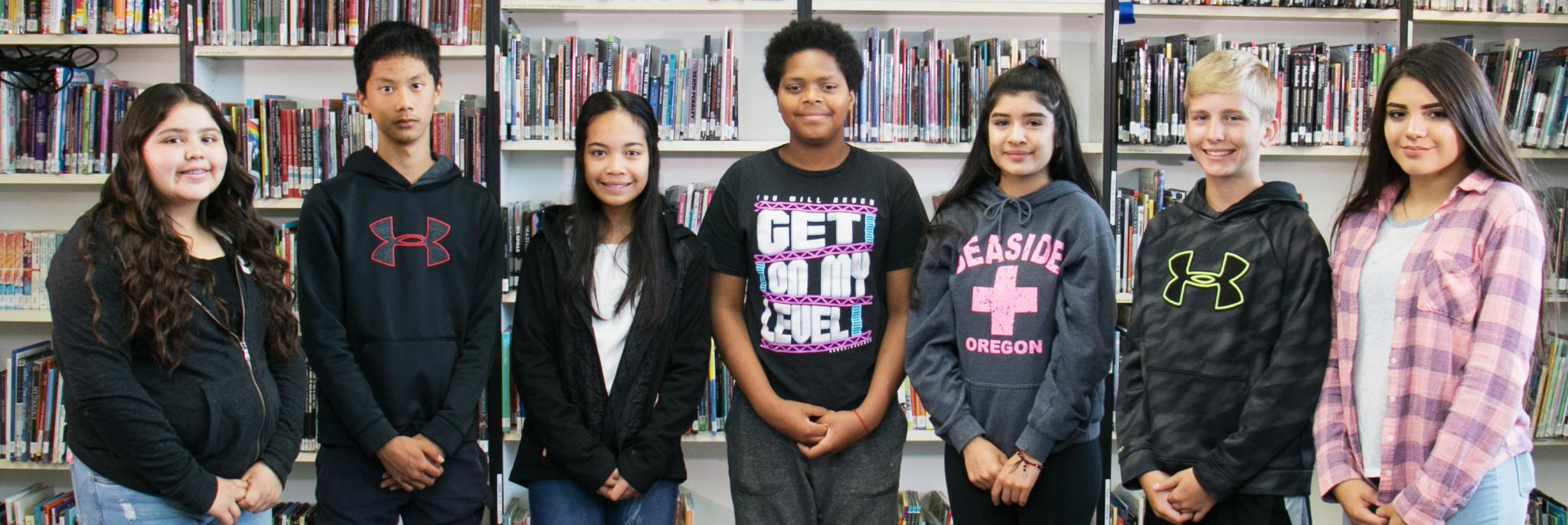 Salem-Keizer students in a library