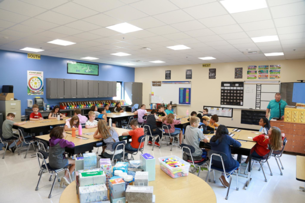 Gubser students in a new classroom