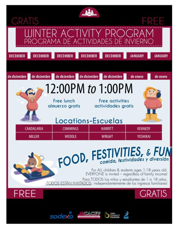Free Lunch and Activities for Kids and Teens Winter Break 2019