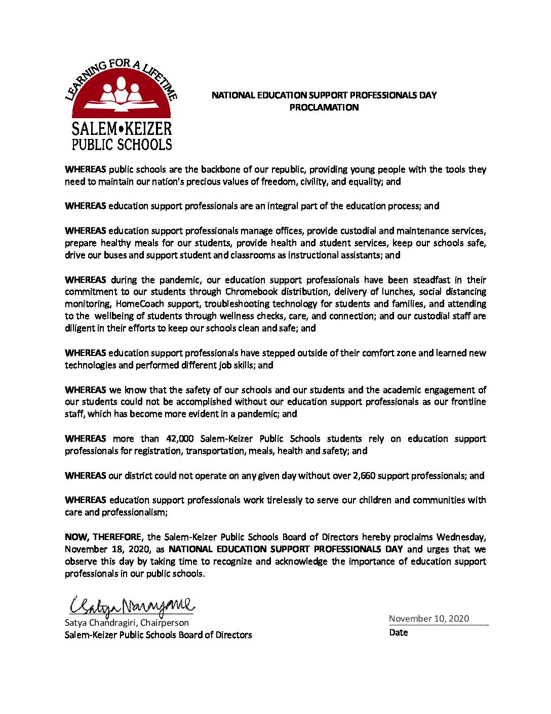 PDF of ESP Day Proclamation
