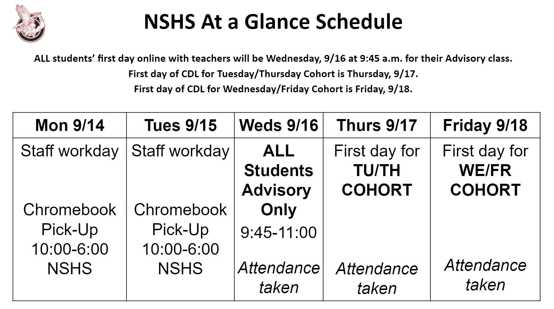 NSHS At a Glace Schedule week of September 14-18. 2020