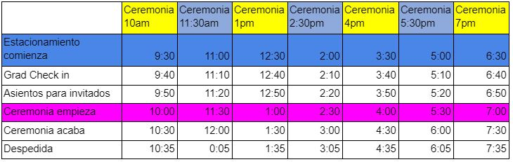 North Salem High School Graduation Parking times and instructions table in Spanish.