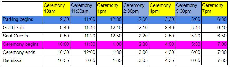 North Salem High School Graduation Parking times and instructions table.