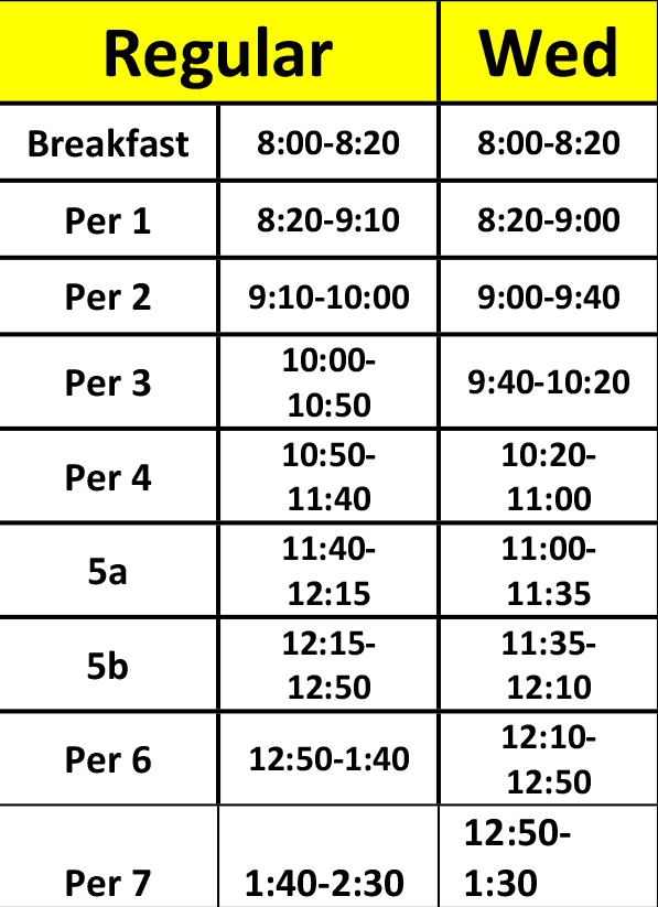 High School Structured Learning Center schedule