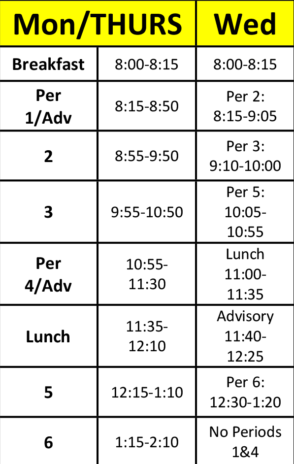 Middle School Structured Learning Center schedule