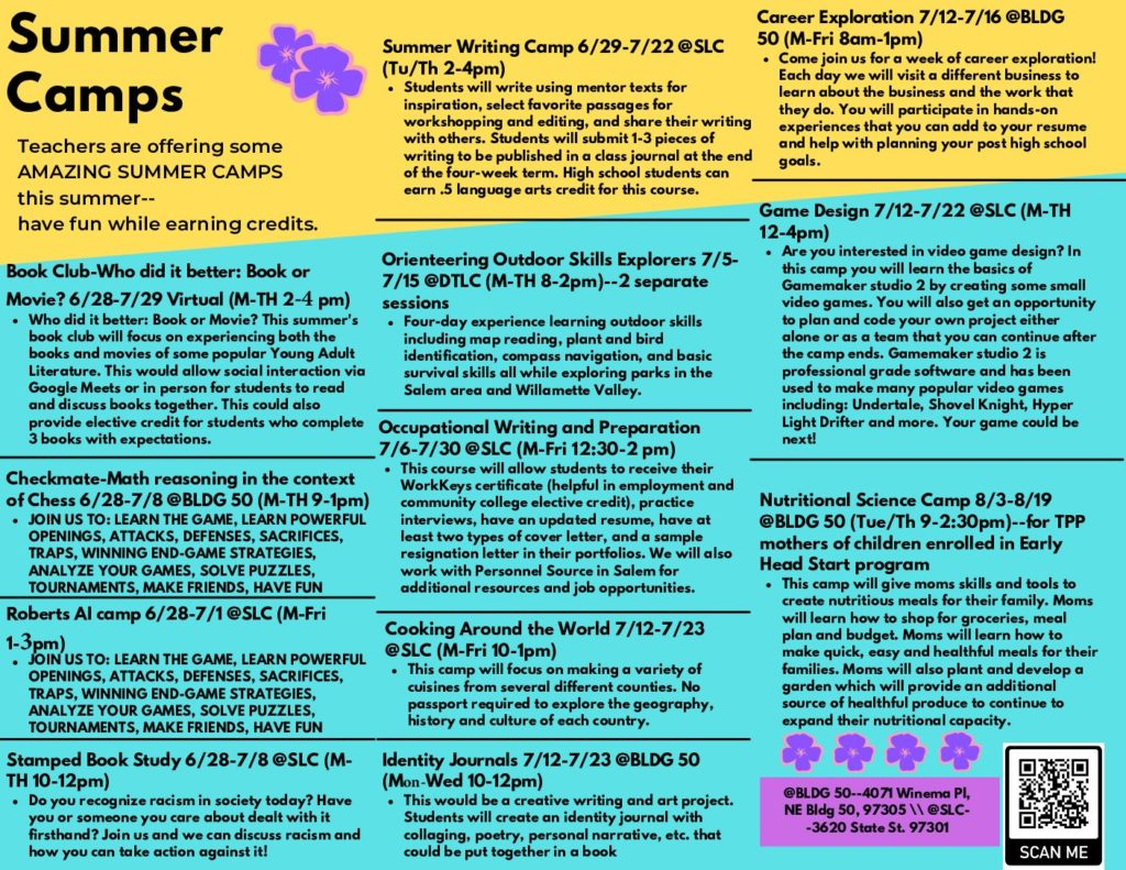This is a flyer that provides information on all of the summer camps available to Roberts and Early College High School students.