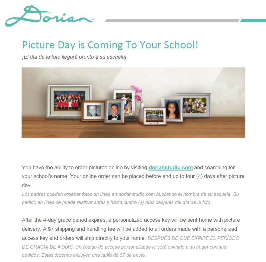 Dorian Photo Information. Packets will be sent to students' home address.