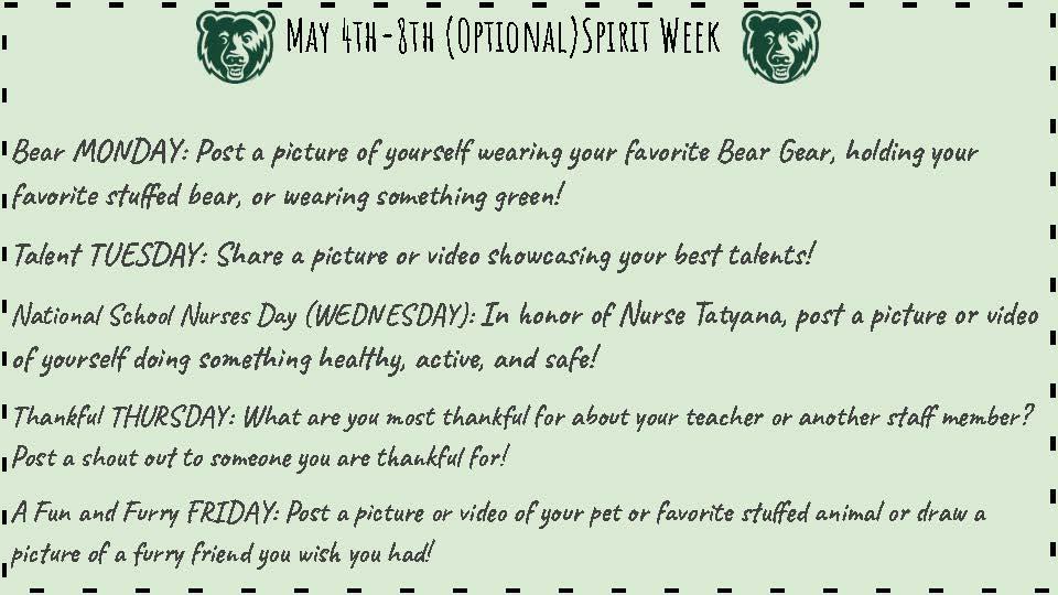 Teacher appreciation spirit week
