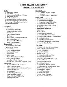 Supply List English