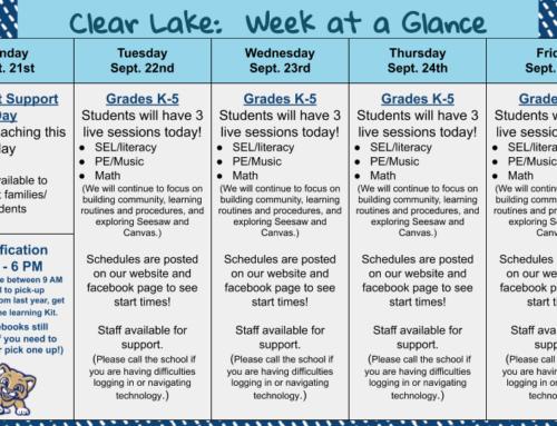 Week at a Glance:  September 21-25