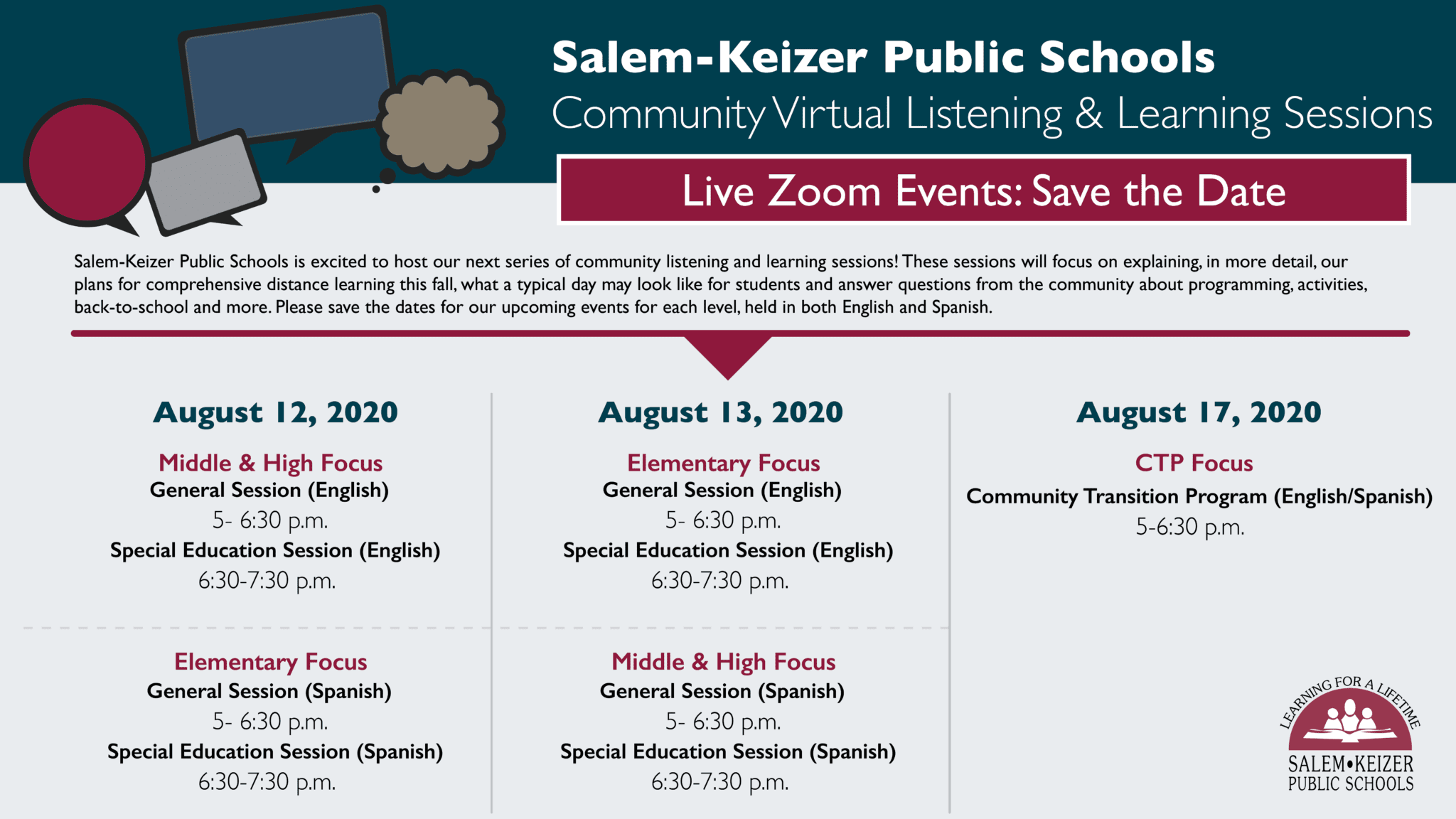 Live Zoom Events for Parents