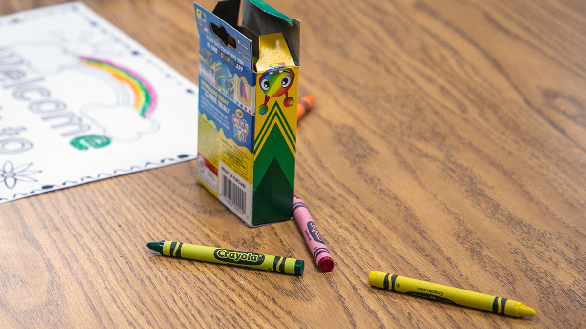 Crayons on a desk