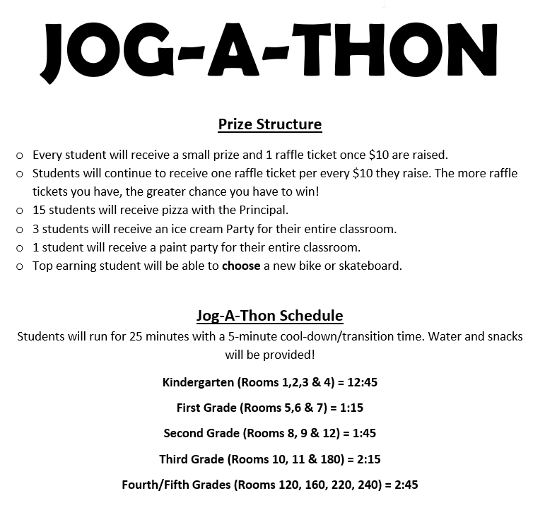 Jog-A-Thon Info, Prize Structure and schedule