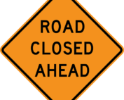 Road closed sign story image