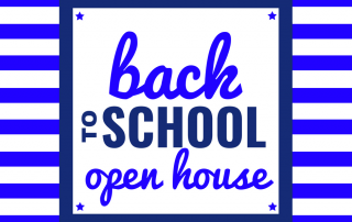 Back to School Open House sign with blue strips