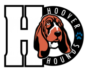 Hound dog next to capital H letter with Hoover Hounds and Paw pic in black circle