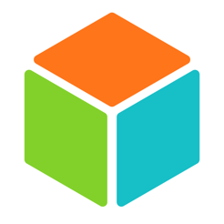 Cube, orange, blue and green sides