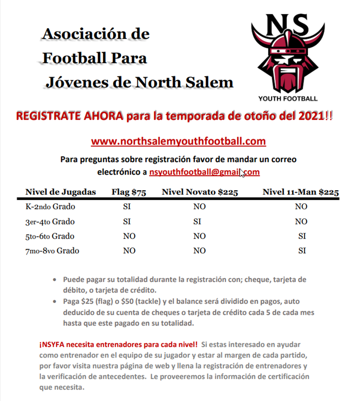 Football Registration Details in Spanish