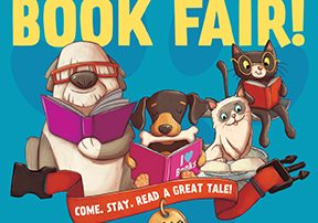 The Words Come to our BOOK FAIR! with animals reading