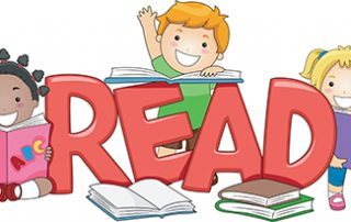 The word READ surrounded by children reading