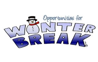 """Words saying Opportunities for Winter Break, with a snowman as the """"I"""""""