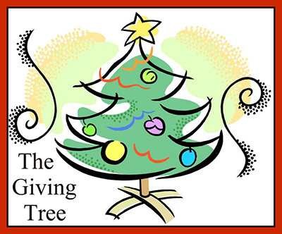 Christmas tree with the words The Giving Tree