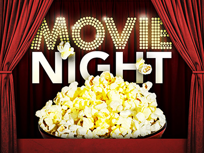 The words Movie Night with movie theater curtains and popcorn.