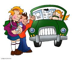 cartoon two kids getting picked up by parents in car