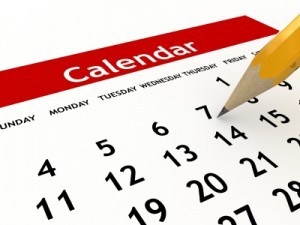 calendar cropped close up with pencil point