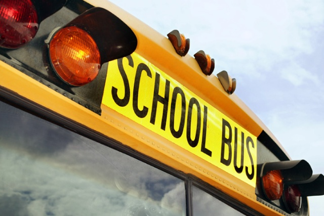 School Bus cropped to top words above windshield