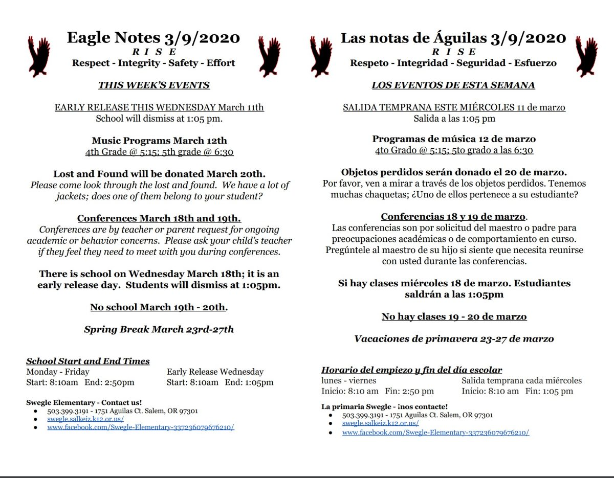 Eagle Notes for 3.9.20
