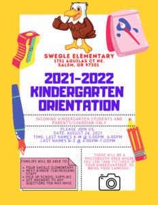 Kinder Orientation August 26 5pm-7pm