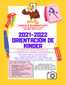 Orientacion de kinder 26 de agosto 5pm-7pm