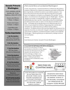Spanish translation of novermber newsletter