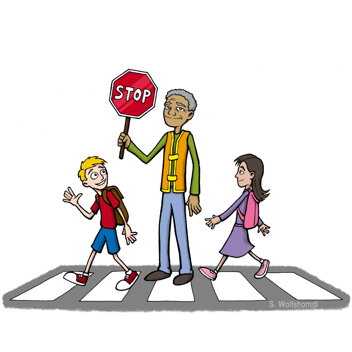 adult with stop sign helping 2 kids cross the street