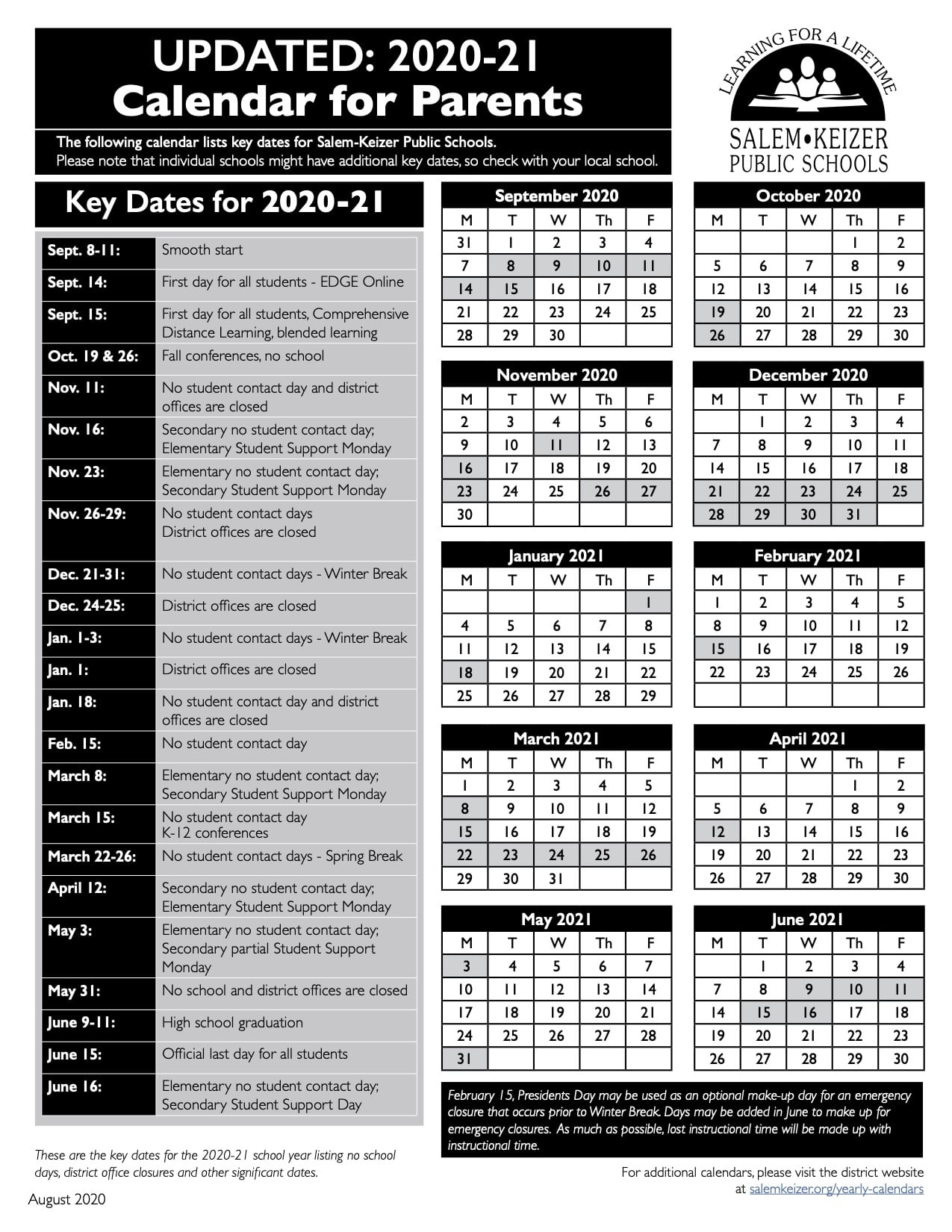 2020-21 Easy to Read Calendar in Spanish