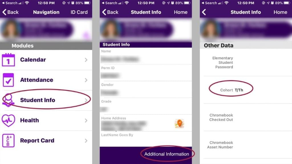 Explanation of locations in ParentVue and StudentVue