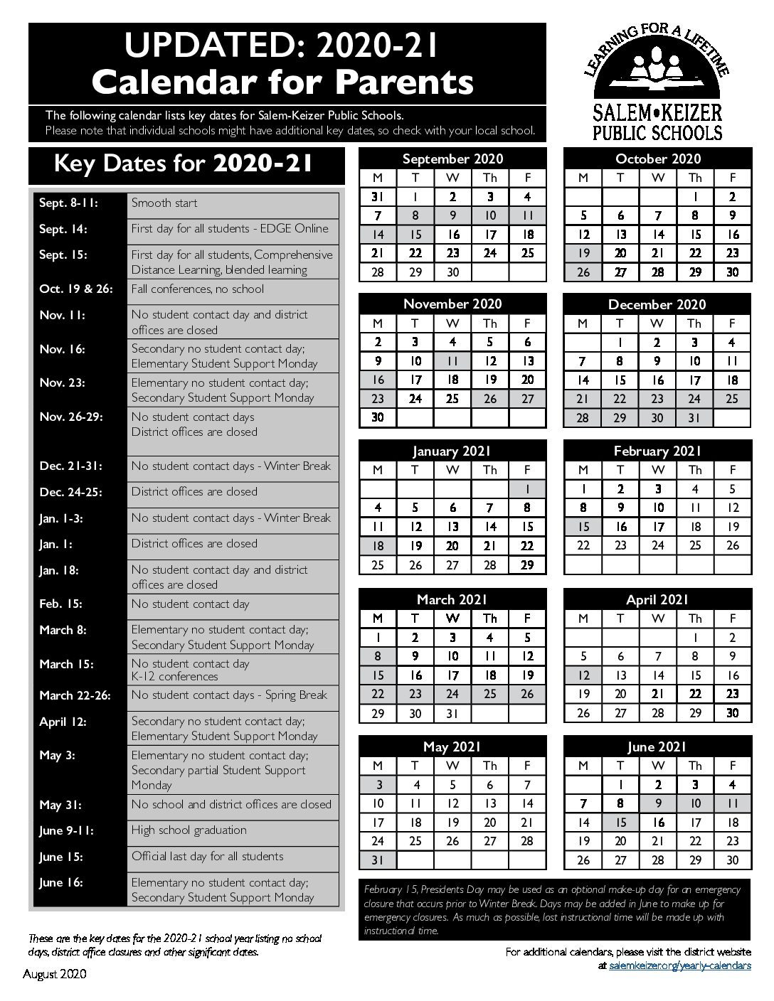 2020-21 Easy-to-Read District Calendar in English