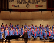 student choir sing on stage