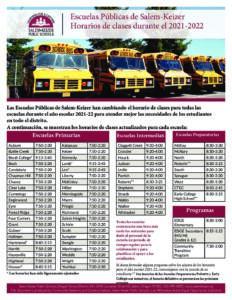 Bell schedules 2021-22 (Spanish)