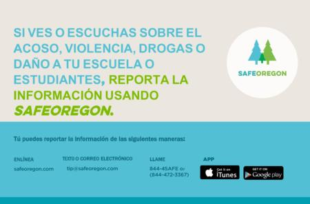 SafeOregon information - Spanish