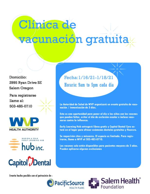 Image of drive-thru clinic information in Spanish