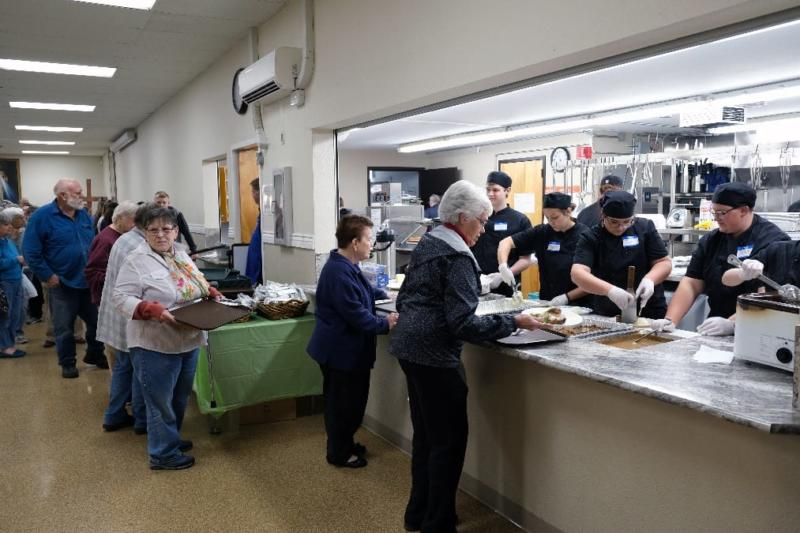 McNary student cooked dinner for 400 at the Keizer Community Dinner at St. Edwards Catholic Church.